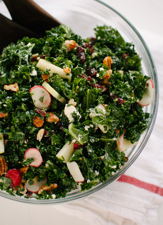 Kale Salad with Apple, Goat Cheese and Pecans - cookieandkate.com