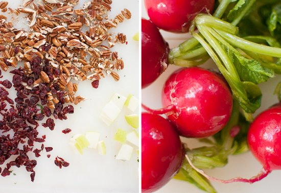 pecans, apples, cranberries and radishes