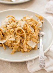 Pumpkin Goat Cheese Fettuccine with Rosemary and Parmesan