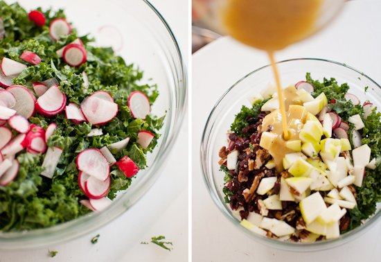 raw kale salad with honey mustard dressing