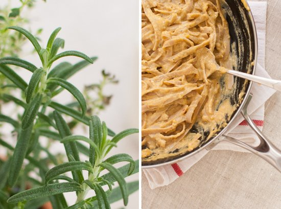 rosemary and pumpkin fettuccini