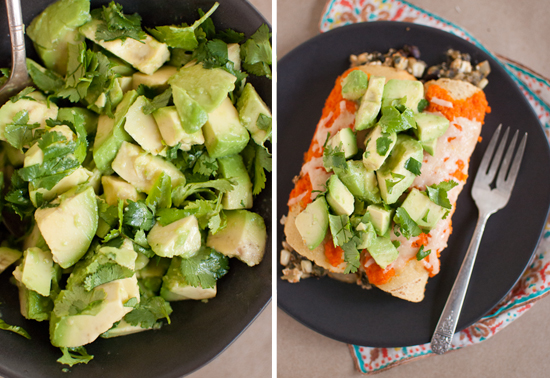 avocado and cilantro on enchiladas
