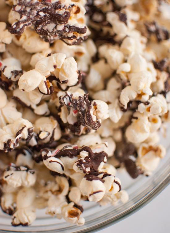 Peppermint bark popcorn in a bowl