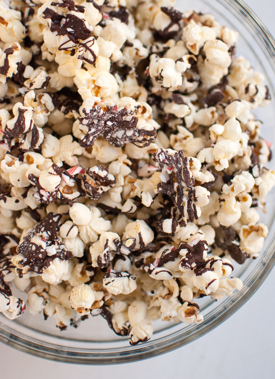 Peppermint chocolate popcorn recipe - cookieandkate.com