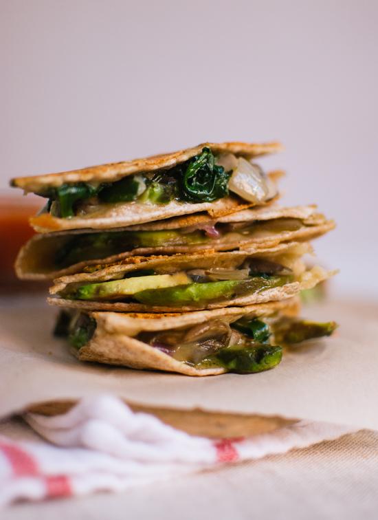 crispy mushroom and avocado quesadillas