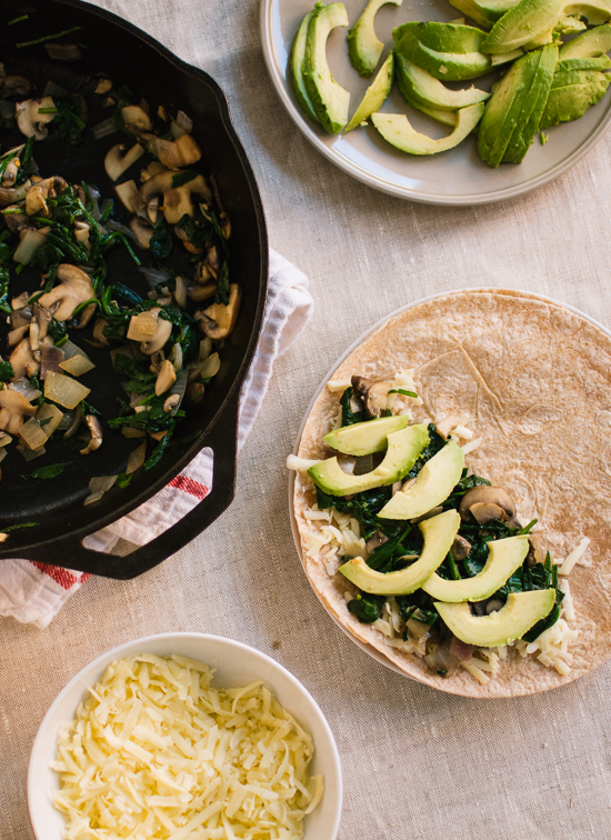avocado, spinach, and mushroom quesadillas