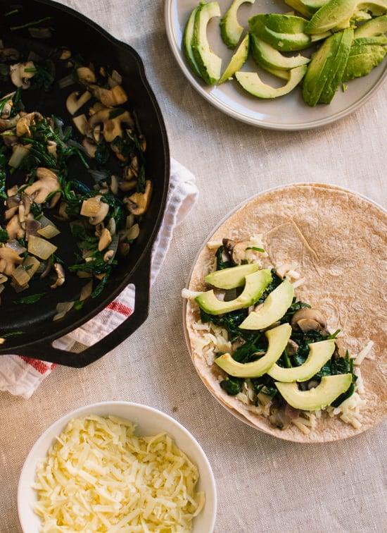avocado, spinach, and mushroom quesadillas