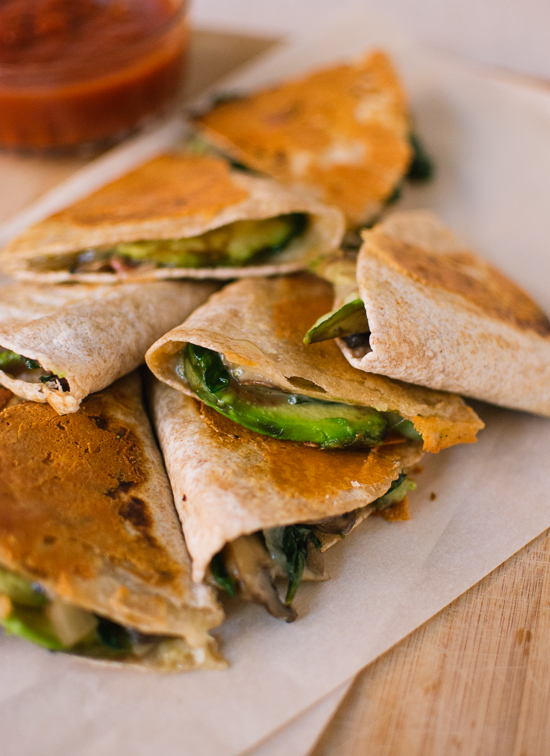Vegetarian avocado, mushroom and spinach quesadillas