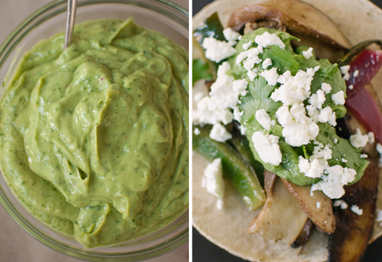 avocado sauce and vegetarian fajitas recipe
