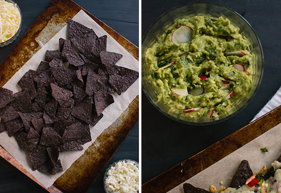 blue corn chips and guacamole