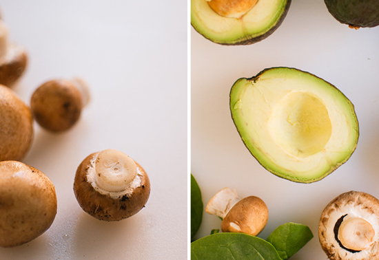 mushrooms and avocados