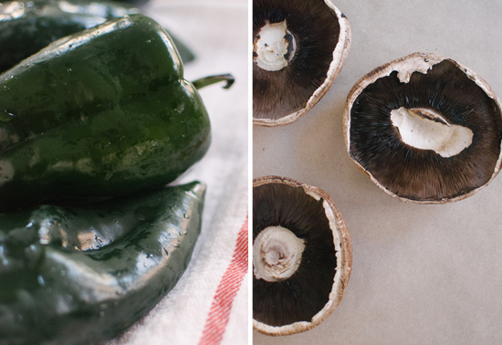 poblano peppers and portobello mushrooms