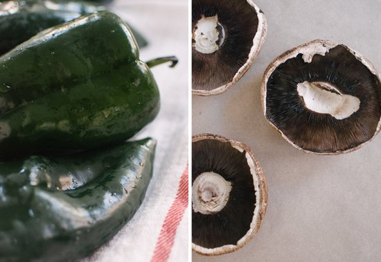 poblano peppers and portobello mushrooms