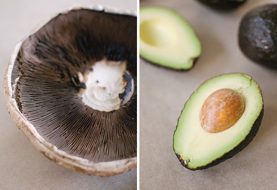 portobello mushrooms and avocado