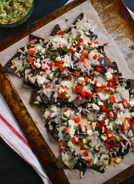 vegetarian blue corn nachos