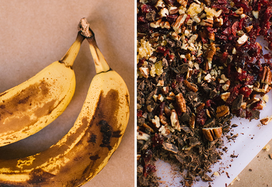 bananas with chopped dried nuts and fruit