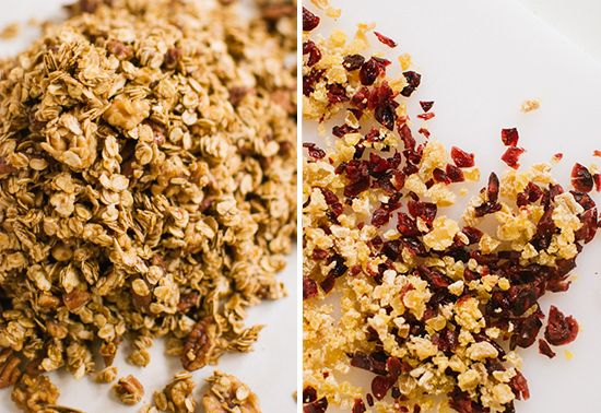 granola with candied ginger and dried cranberries