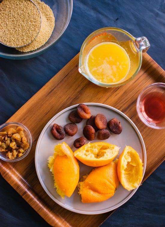 oranges, apricots, raisins and ume vinegar