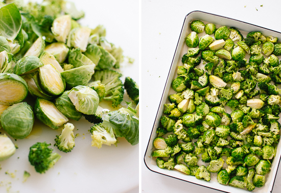 chopped brussels sprouts and broccoli