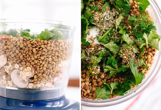 lentils and mushrooms in food processor