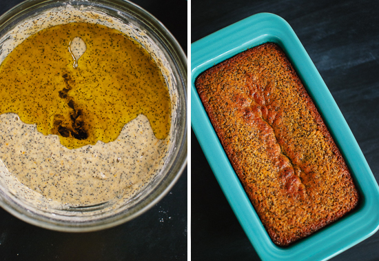 orange poppy seed pound cake batter