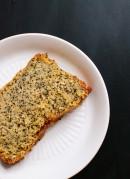Orange poppy seed pound cake slice