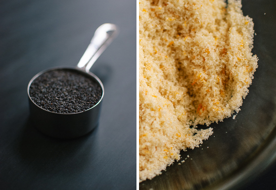 poppy seeds and orange sugar