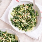 Raw kale and brussels sprouts salad with tahini-maple dressing