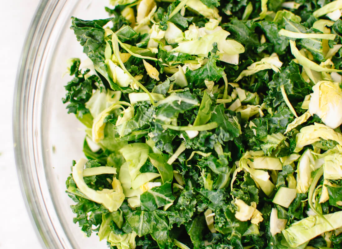 chopped kale and brussels sprouts