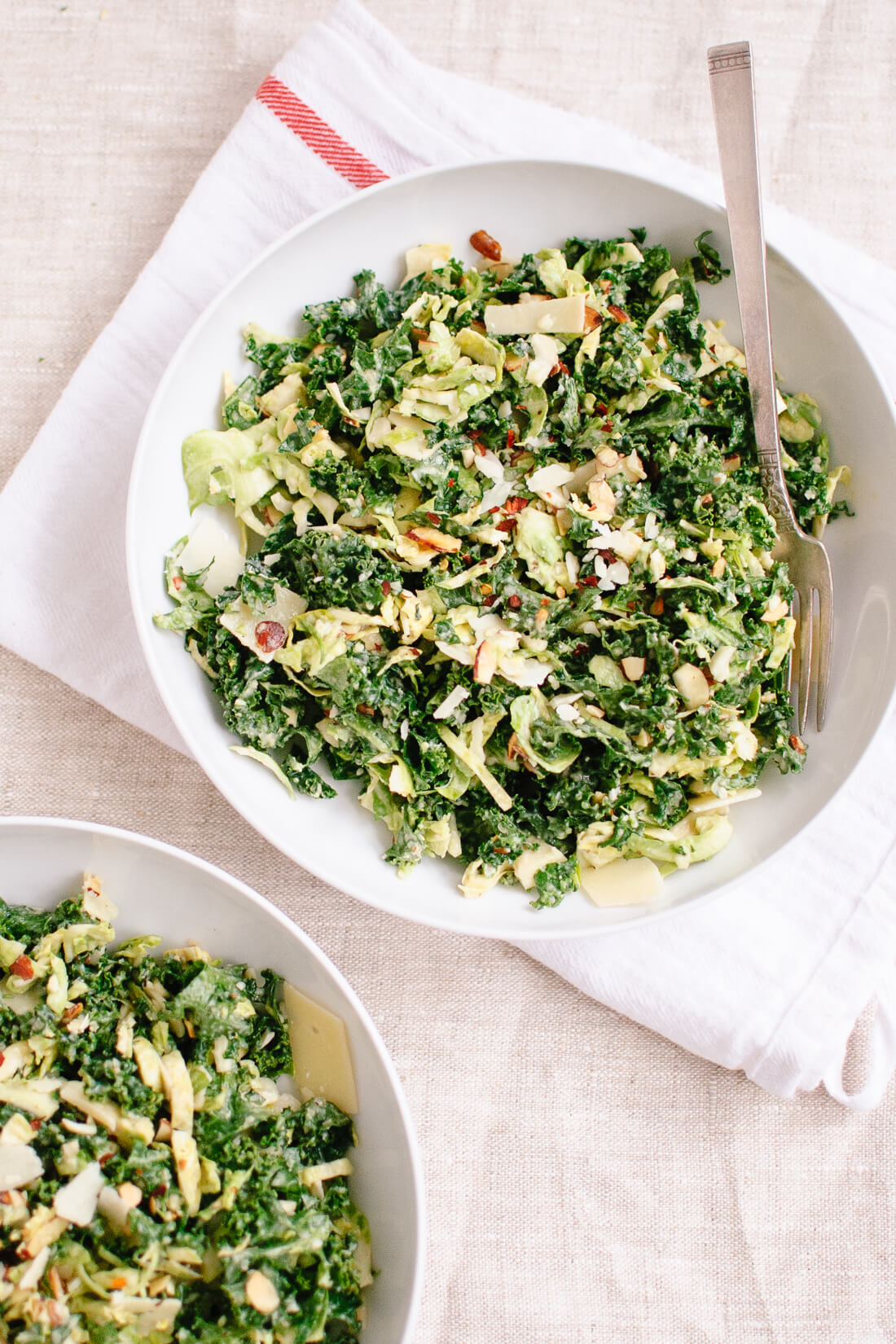 Chopped brussels sprout and kale salad with creamy tahini-maple dressing