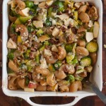 Baked Chiocciole with Brussels Sprouts, Apples and Blue Cheese