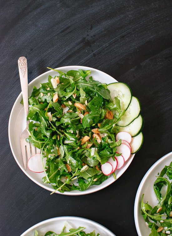 Arugula, radish, cucumber and almond salad