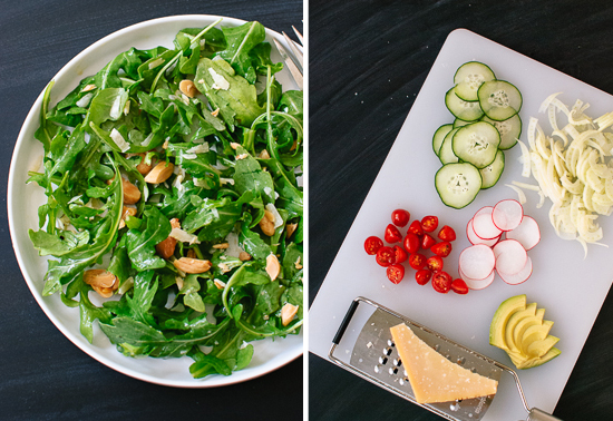 Basic arugula salad and additional toppings