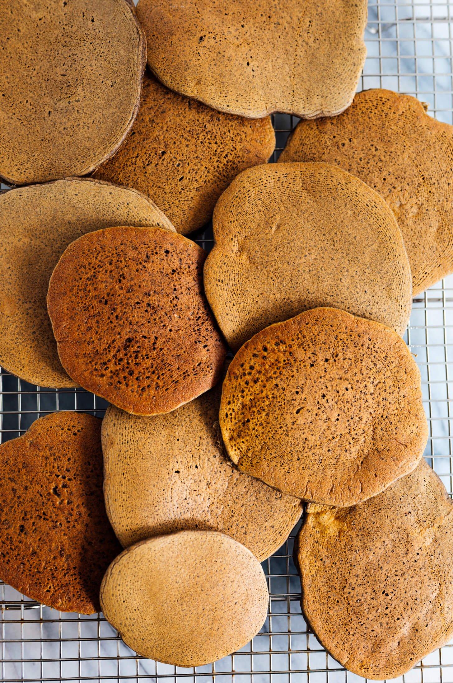 buckwheat pancakes on cooling rack