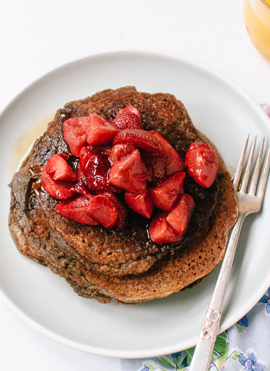 Gluten-free buckwheat pancakes with roasted strawberries on top - cookieandkate.com