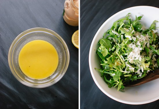 lemon vinaigrette and arugula salad