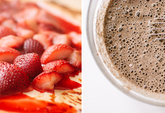 roasted strawberries and pancake batter
