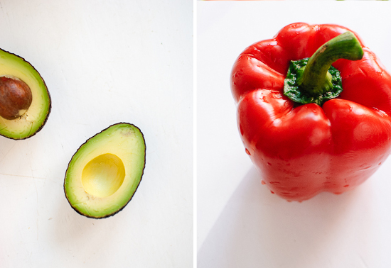 avocado and red bell pepper