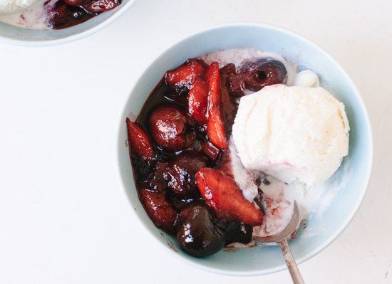 Balsamic stone fruit sundae recipe