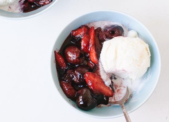 Balsamic stone fruit sundae recipe