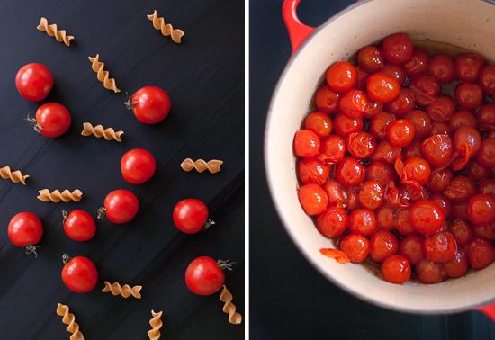 burst cherry tomatoes and pasta
