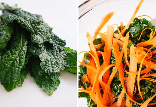 chopped kale and carrot ribbons