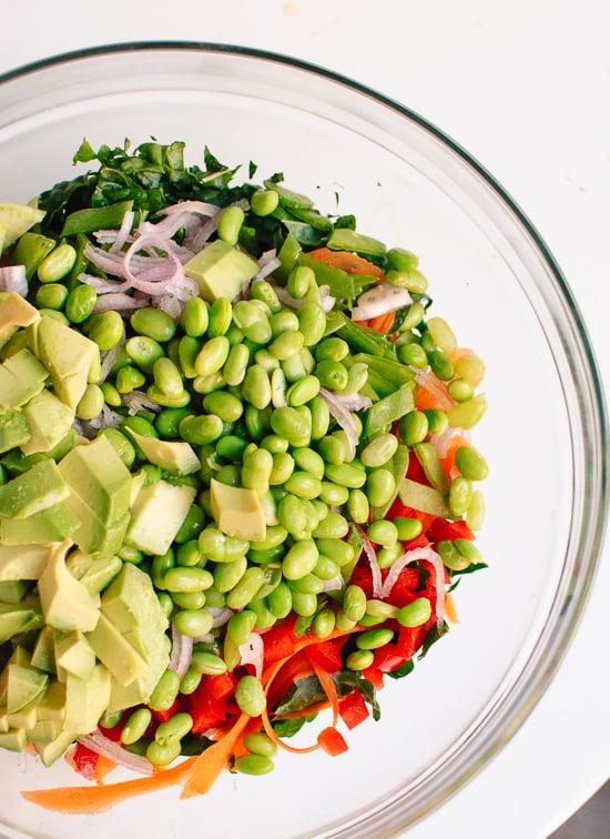 Chopped kale salad ingredients