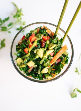 Chopped Kale Salad with Edamame, Carrot and Avocado