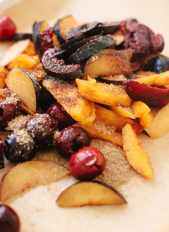 chopped peaches, plums and cherries