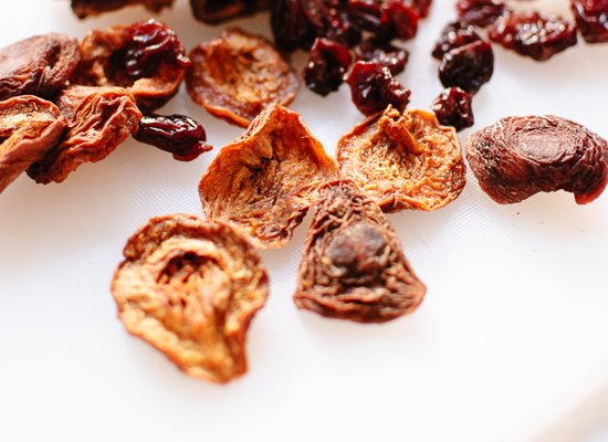 dried blenheim apricots and tart dried cherries