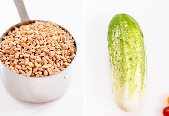 farro and cucumber