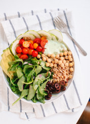 Greek Farro and Chickpea Salad with Herbed Yogurt