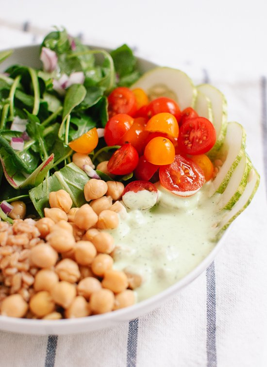 herbed yogurt, farro and chickpea salad