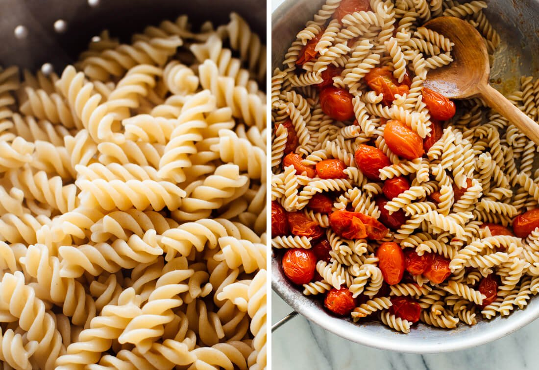 pasta and burst cherry tomatoes